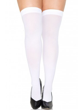 Bas grande taille blancs opaques fantaisie - MH4745XWHT