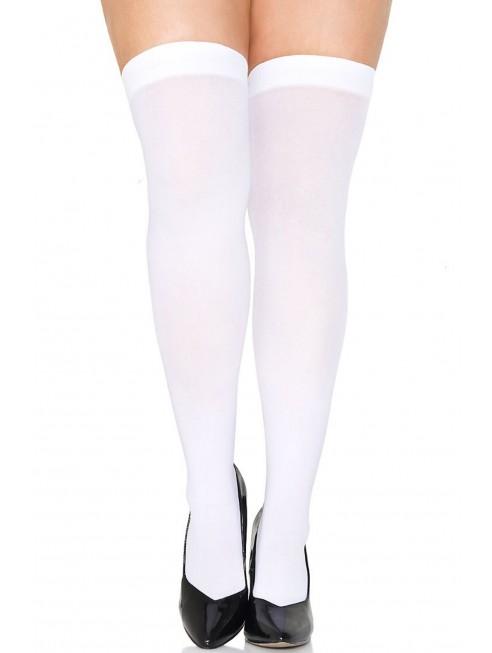 Bas autofixants grande taille blancs opaques fantaisie