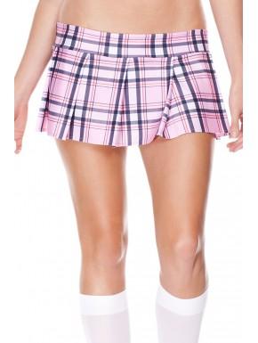 Mini-jupe plissée rose style ecossais - ML25074PNK