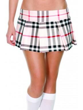 Grossiste Mini-jupe plissée beige style ecossais