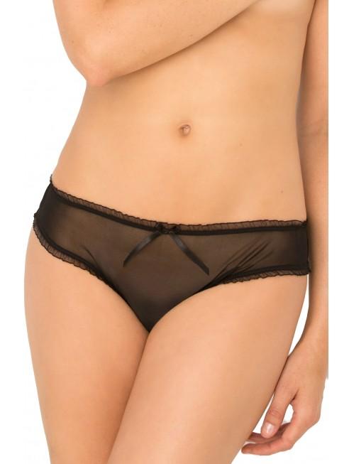 Grossiste Culotte noire maille fine arrière ouvert volanté