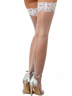 Grossiste lingerie coquine Bas résille blancs autofixants effet coutures et jarretières dentelle