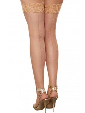 Grossiste Dreamgirl Bas résille grande taille chairs autofixants effet coutures et jarretières dentelle
