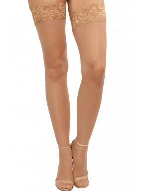 Grossiste lingerie Bas chairs nylon autofixants jarretières dentelle