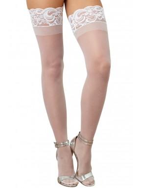 Grossiste Dreamgirl Bas blancs nylon autofixants jarretières dentelle
