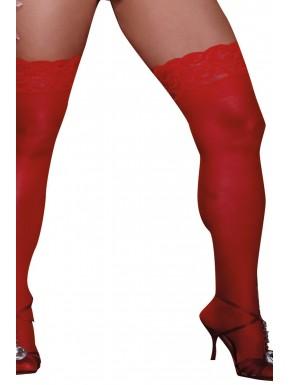 Bas rouges grande taille nylon autofixants jarretières dentelle - DG0005XRED