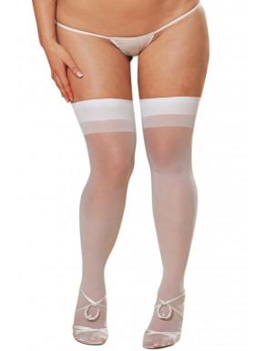 Grossiste dropshipping Bas nylon blancs coutures grande taille pour jarretelles