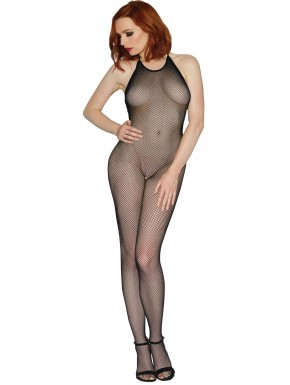 Grossiste Dreamgirl Bodystocking résille noir dos nu entre-jambes ouvert