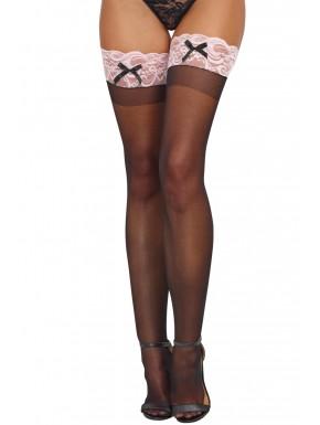 Grossiste lingerie sexy Bas autofixants noirs jarretières dentelle rose