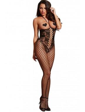 Grossiste Bodystocking noir seins nus effet bustier