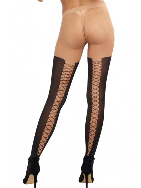 Grossiste dropshipping Collant sexy effet cuissardes lacées noires