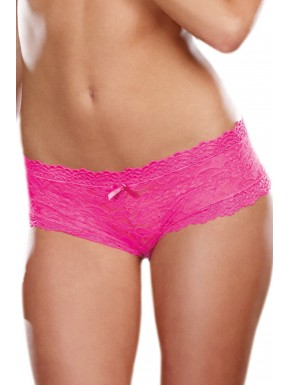 Grossiste Shorty sexy taille basse rose en dentelle