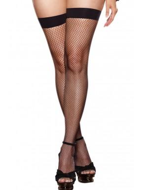 Bas résille grande taille noirs couture et noeuds pour jarretelles - DG0192XBLK