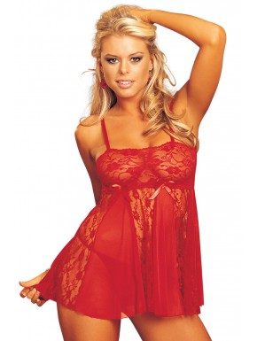 Grossiste Shirley Of Hollywood Nuisette babydoll rouge dentelle et maille
