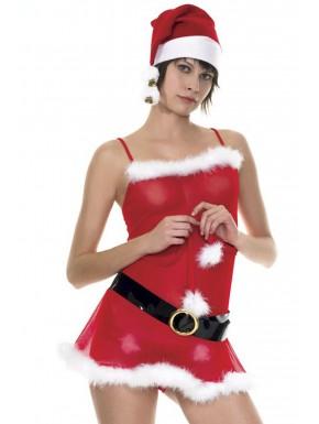 Robe de mère Noël avec ceinture et bonnet