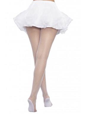 Collant résille blanc grande taille avec pieds renforcés - DG0257HXWHT