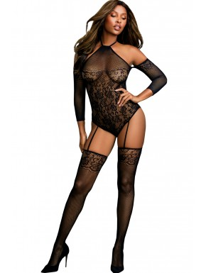 Grossiste dropshipping Bodystocking résille effet bas jarretelles