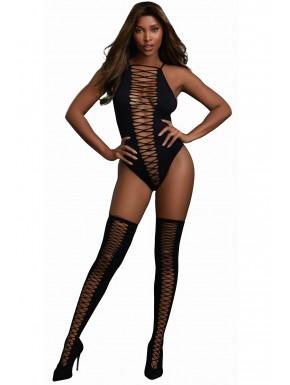 Fournisseur lingerie Body opaque avec croisillons et bas assortis