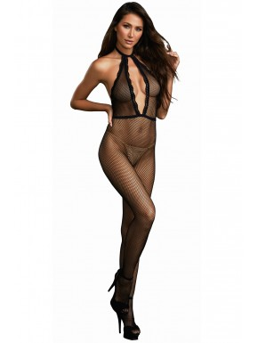 Grossiste lingerie Bodystocking résille à encolure plongeante