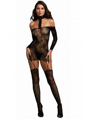Fournisseur lingerie Bodystocking résille guêpière réversible avec tour de cou