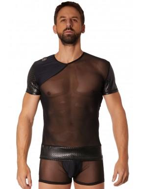T-shirt noir maille et brillance ajourée - LM902-81BLK