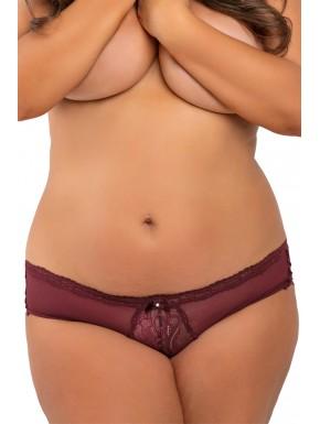 Grossiste dropshipping Tanga sexy bordeaux grande taille ajouré sur les fesses