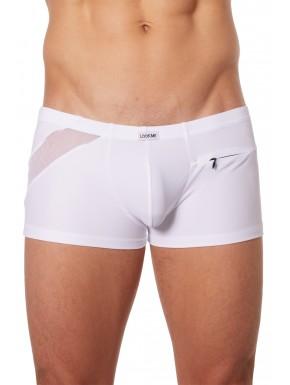 Boxer blanc sexy avec bandes fine résille et déco zippée