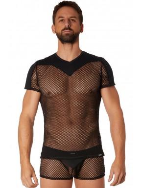 T-shirt noir résille filet bandes opaques - LM21-81ABLK