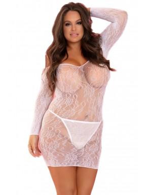Robe blanche grande taille fine résille à motifs épaules nues - REN7070XWHT