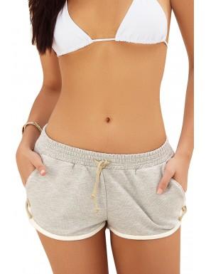 Short gris avec poche cordon de serrage et petit laçage - MAP7906GRY