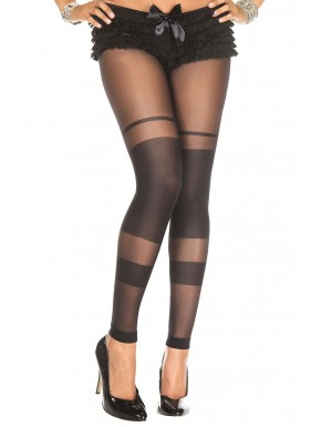 Collant noir sans pied bandes opaques
