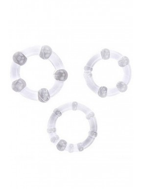 Pack 3 cockring transparents avec billes - CR-COR005CLE