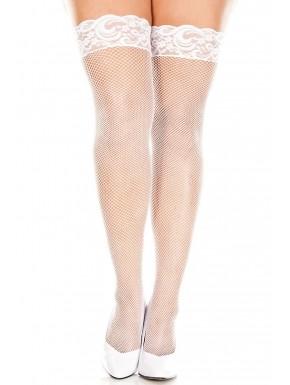 Bas blancs fine résille grande taille autofixants jarretières dentelle