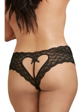 Shorty noir grande taille de dentelle ouvert et ajouré sur les fesses forme coeur - DG1442XBLK