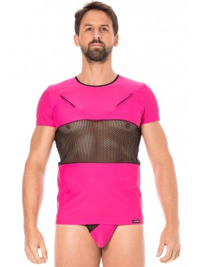 T-shirt magenta filet et corde