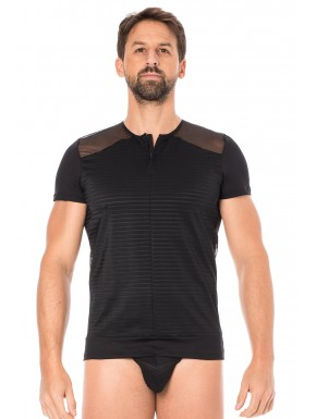 T-shirt noir rayé opaque et transparent