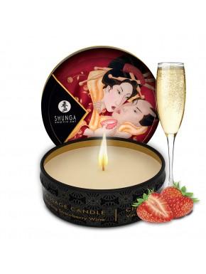 Mini bougie de massage fraise vin pétillant 30ml