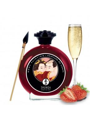 grossiste shunga dropshipping peinture de corps comestibles fraise vin petillant