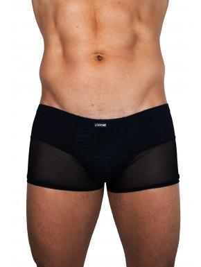 Boxer noir rayé opaque et transparent