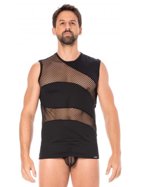 T-shirt débardeur noir col rond opaque et transparent Shade 2 - LM803-77BLK