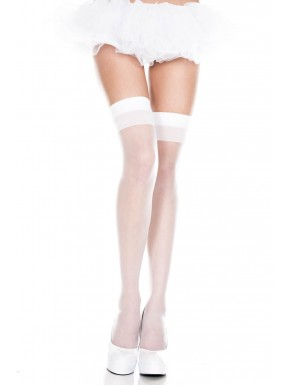 Bas autofixants voile opaque blanc large jarretières - MH4101WHT