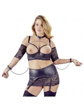 Soutien-gorge à armatures noir et porte-jarretelles sexy grande taille - OR2221233BLK