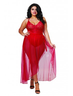 Body string rouge grande taille échancré dentelle avec jupe de maille transparente amovible - DG10996XRED