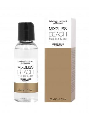 2 en 1 Lubrifiant et huille de massage silicone Mixgliss Beach Noix de coco 50 ML - MG2542