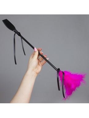 Cravache avec plumeau rose 50 cm - SP3422F