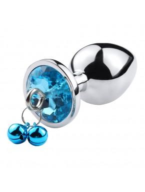 Plug bijou aluminium bleu avec clochettes Taille M - RY-002-A-ZB