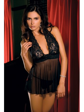 Ensemble 2 pc Babydoll tour de cou & G-String - REN30941-BLK