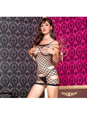 Mini robe triples bretelles, en résille moyennes et grosse mailles, ouverte poitrine - ML6368BLK