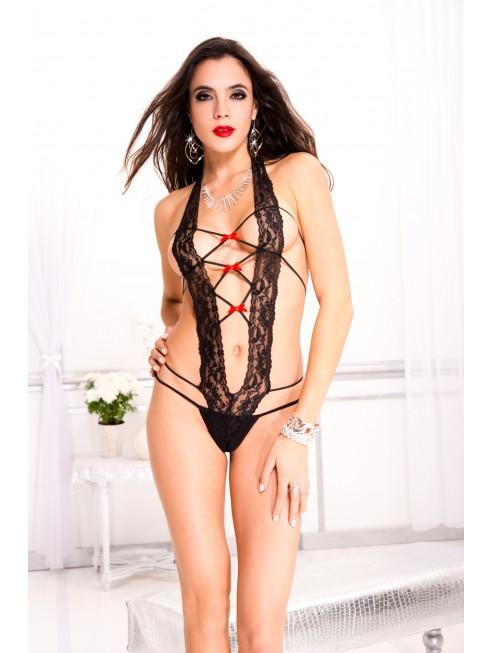 Body string, tour de cou, laçage devant et dos, en dentelle
